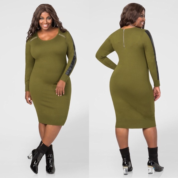 180832651a0c01 Ashley Stewart Dresses & Skirts - Ashley Stewart Olive Green Faux Leather  Zip Dress